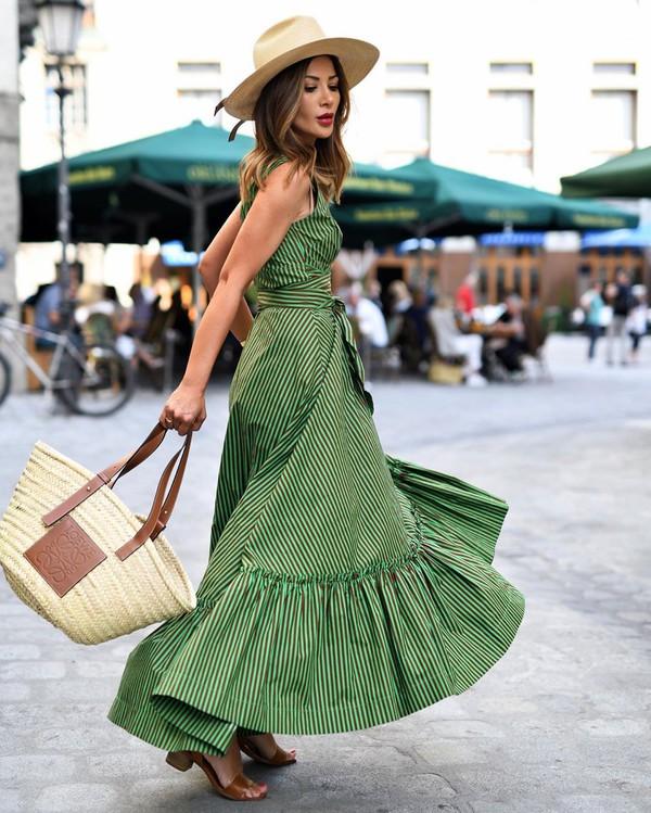 dress striped dress sleeveless dress maxi dress sandal heels woven bag loewe bag
