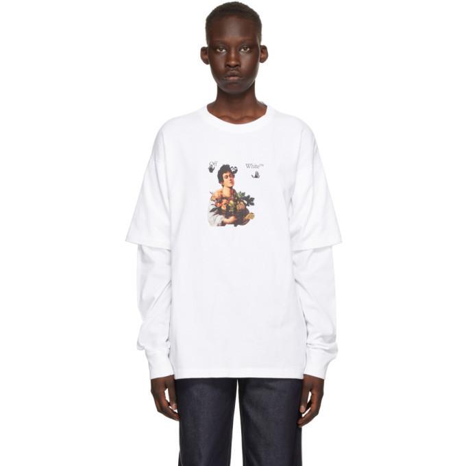 Off-White White Caravaggio Boy Long Sleeve T-Shirt in black