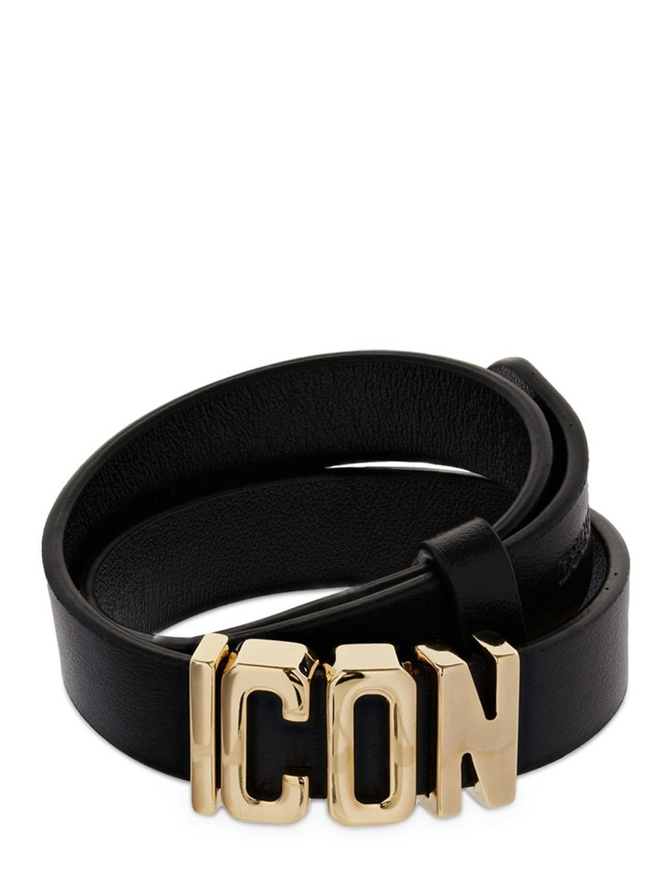 DSQUARED2 1.5cm Icon Leather Bracelet in black / gold