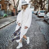 coat,white coat,knit,white boots,ankle boots,lace up boots,plaid skirt,midi skirt,white turtleneck top,felt hat