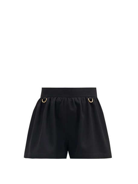 Givenchy - D-ring Embellished Flared-leg Wool Shorts - Womens - Black