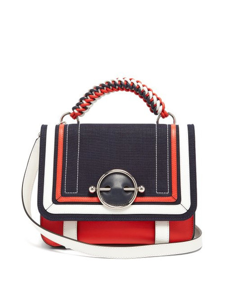 Jw Anderson - Disc Braided Top Handle Leather Bag - Womens - Red Multi