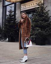 bag,fendi,white boots,ankle boots,brown coat,faux fur coat,jeans