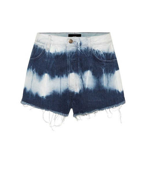 Alanui High-rise denim shorts in blue