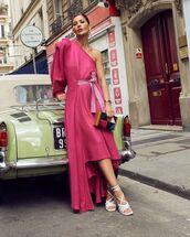 shoes,white sandals,midi dress,asymmetrical dress,handbag