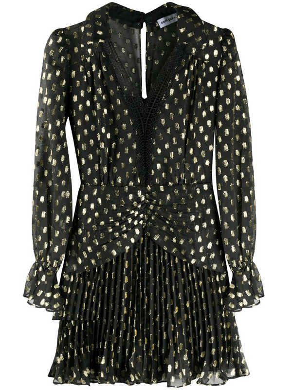 Self-Portrait fil-coupé polka dot mini dress in black