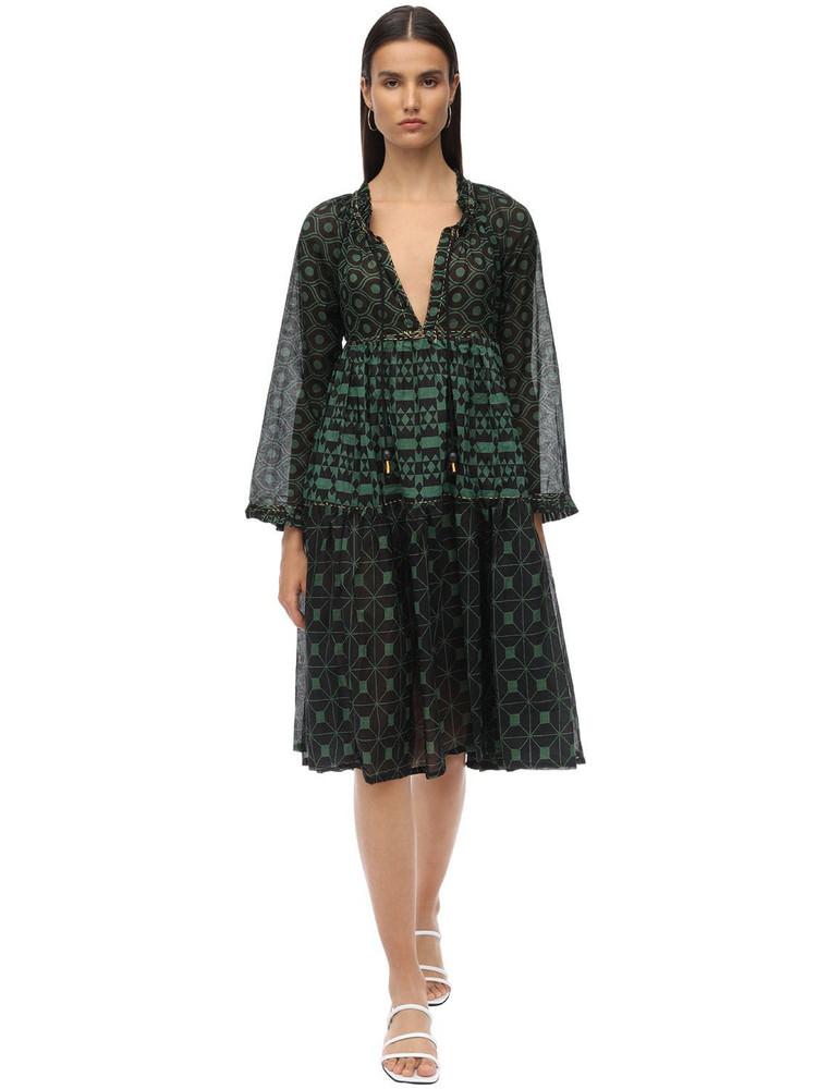 YVONNE S Cotton Voile Midi Dress in black / green