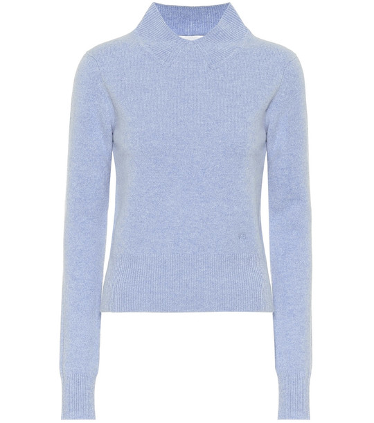 Victoria Beckham Cropped wool turtleneck sweater in blue