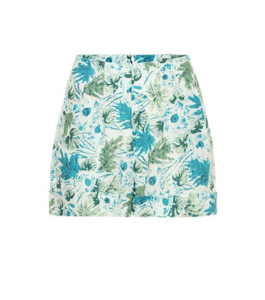 Cult Gaia Shadi floral linen shorts in blue