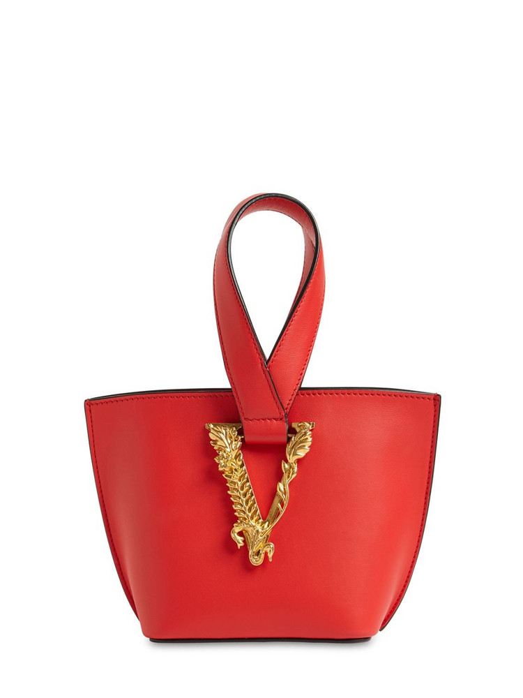 VERSACE Virtus Leather Top Handle Bag in red