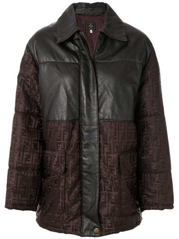 Fendi Pre-Owned Zucca pattern panelled coat in brown