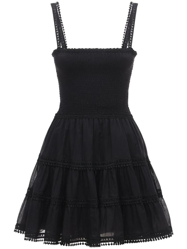 CHARO RUIZ Stelle Broderie Cotton Mini Dress in black