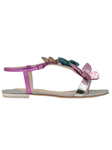Sophia Webster Riva Flat Sandal in metallic / silver / multi