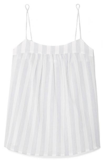 Skin - Isabella Striped Cotton-gauze Pajama Top - White