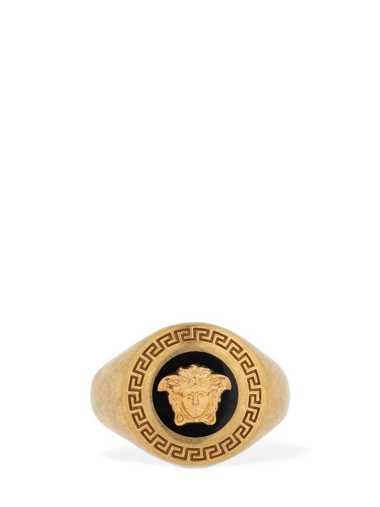 VERSACE Icon Round Medusa Enameled Ring in black / gold