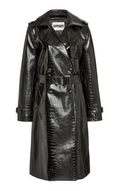 Apparis Danny Croc-Effect Faux Leather Trench Coat in black
