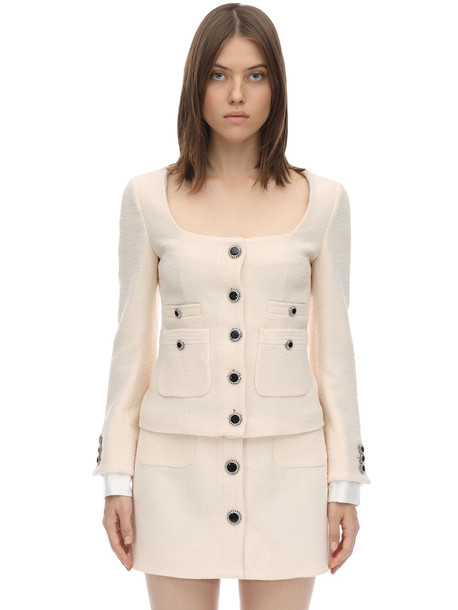 ALESSANDRA RICH Lacquered Button Tweed Jacket in ivory