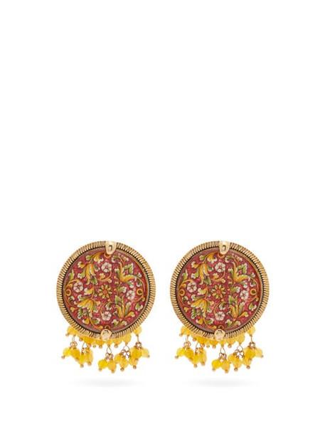 Rosantica By Michela Panero - Sicilia Tile Beaded Clip Earrings - Womens - Red Multi
