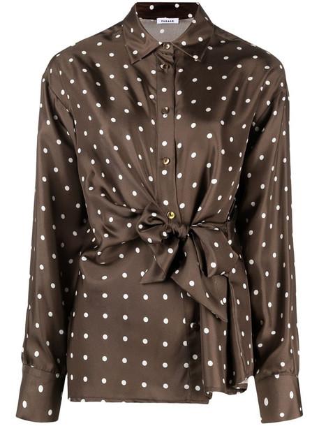 P.A.R.O.S.H. polka-dot silk shirt in brown