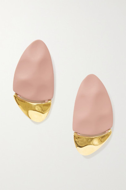 Nausheen Shah x Monica Sordo - Gilot Coated Gold-plated Earrings - Antique rose