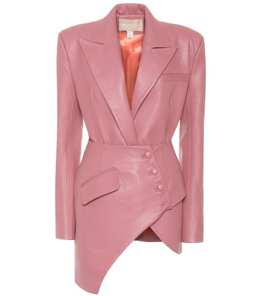 Matériel Tbilisi Asymmetric faux leather blazer in pink
