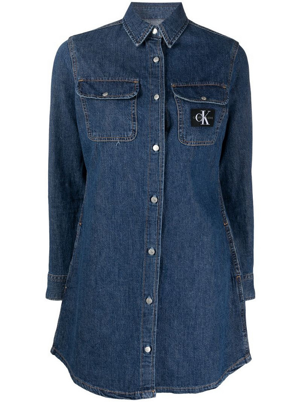 Calvin Klein Jeans denim shirt dress in blue