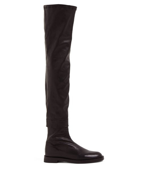 Ann Demeulemeester - Over The Knee Nappa Leather Boots - Womens - Black