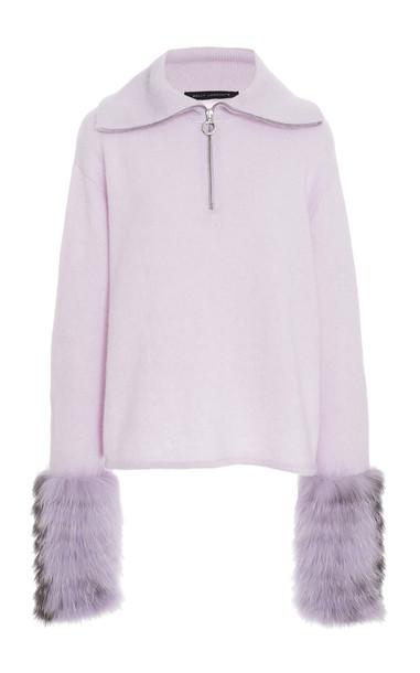 Sally LaPointe Fur-Trimmed Silk-Cashmere Sweater in purple