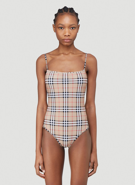 Burberry Check Swimsuit in Beige size S