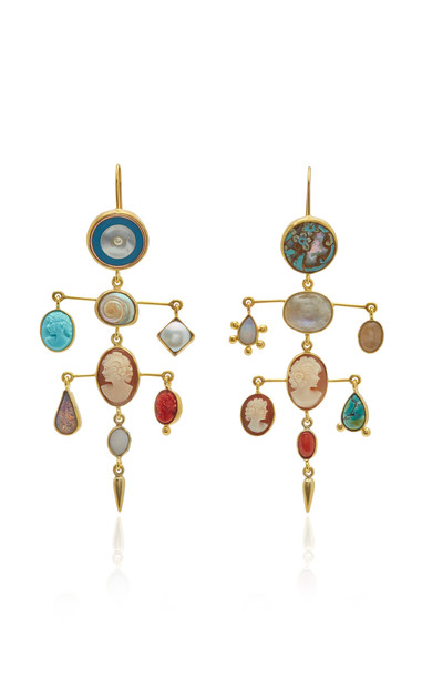 Grainne Morton Victorian Gold Drop Earrings in multi