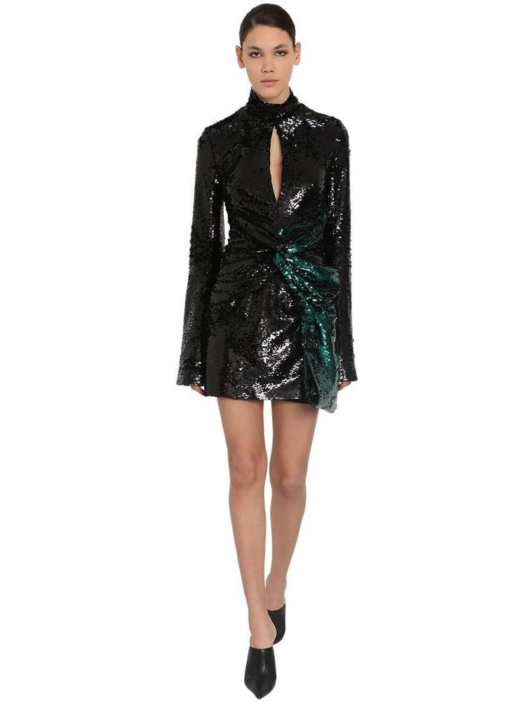 16ARLINGTON Sequined Techno Mini Dress in black / green