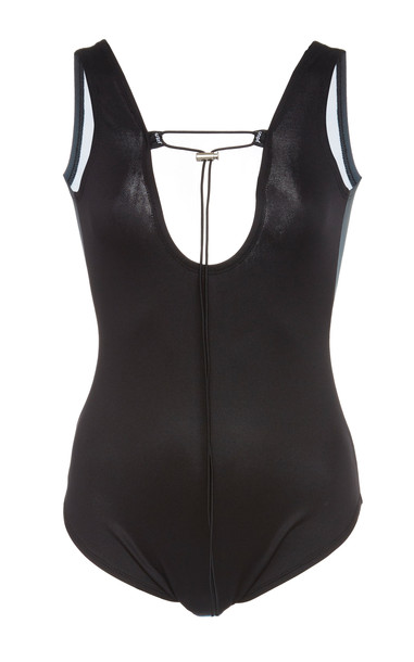 Youser Color Blocked One Piece Swimsuit in black