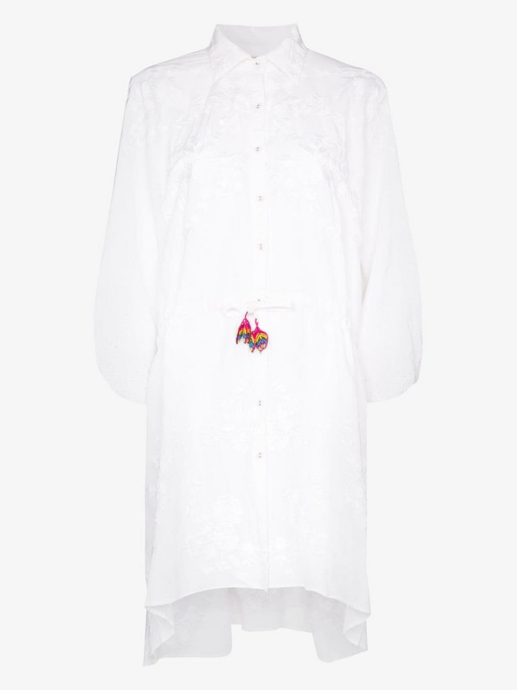 All Things Mochi Malaya embroidered shirt dress in white