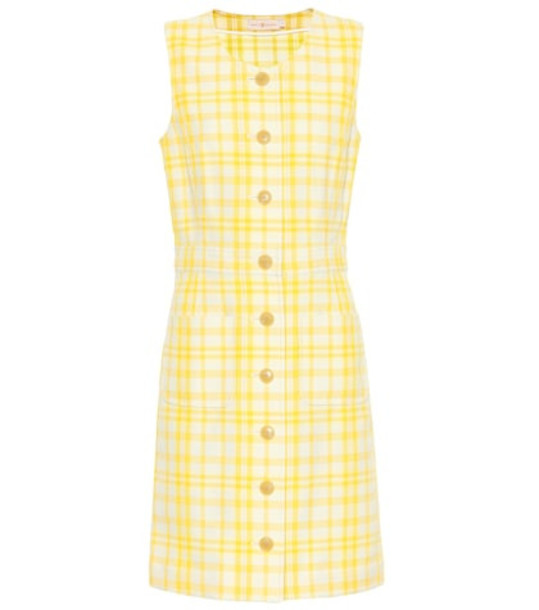 Tory Burch Checked cotton-blend dress in yellow
