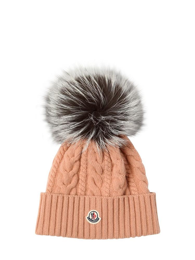 MONCLER Wool & Cashmere Knit Hat W/ Fur Pompom in beige