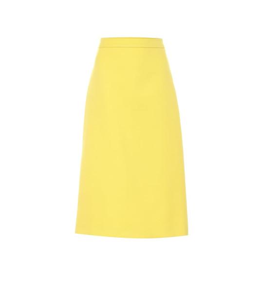 Prada Wool midi skirt in yellow