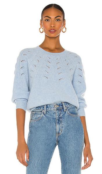 White + Warren White + Warren Lace Pointelle Crewneck Sweater in Baby Blue