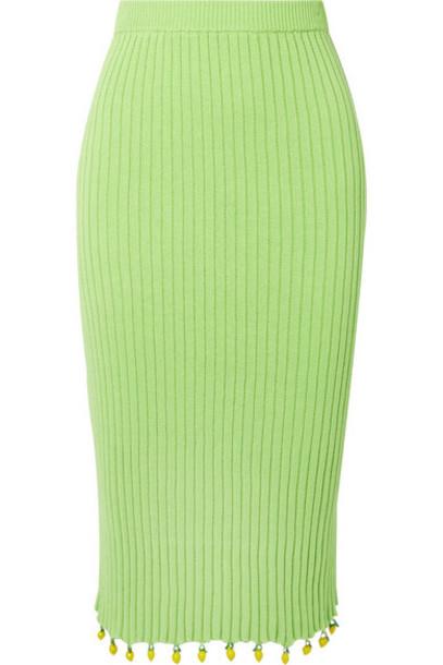 STAUD - Costa Embellished Ribbed Cotton Midi Skirt - Light green