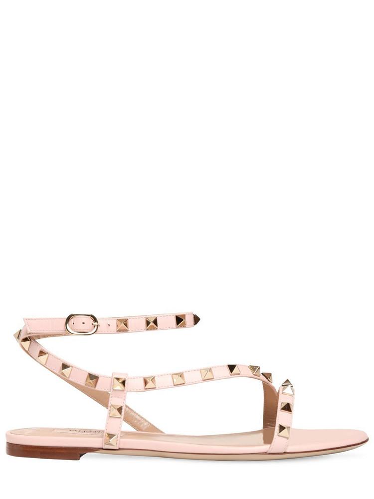 VALENTINO GARAVANI 10mm Rockstud Leather Sandals in pink