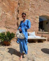 dress,midi dress,blue dress,white sandals,bag
