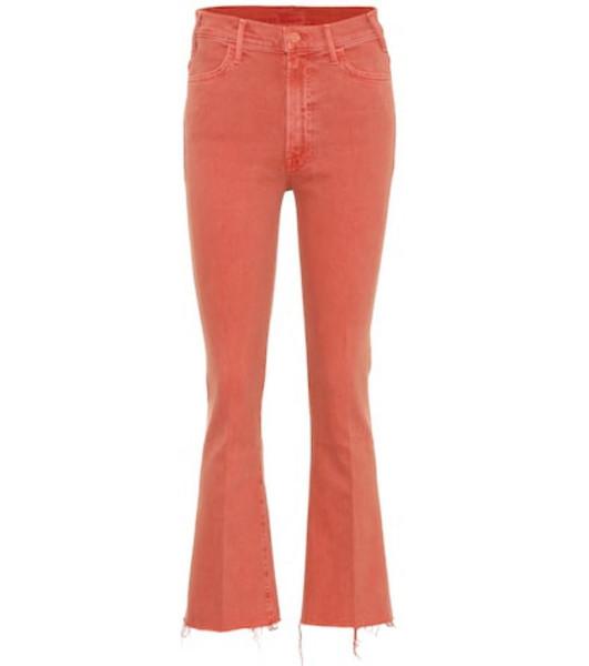 Mother Hustler high-rise bootcut jeans in orange