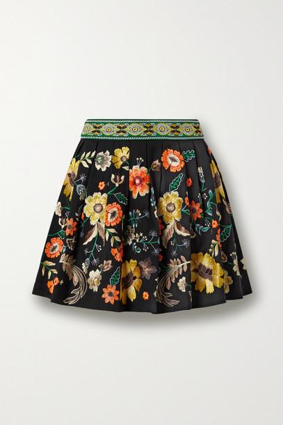 Alice + Olivia Alice + Olivia - Fizer Embroidered Poplin Mini Skirt - Black
