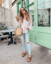 top,white blouse,lace,skinny jeans,cropped jeans,ripped jeans,slide shoes,bag
