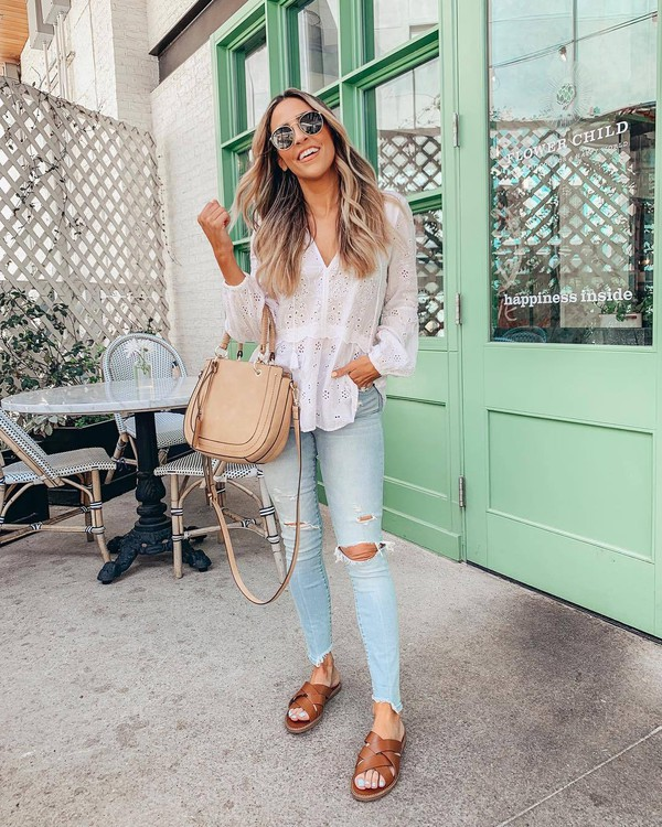 top white blouse lace skinny jeans cropped jeans ripped jeans slide shoes bag