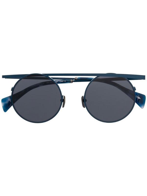 Yohji Yamamoto futuristic aviator sunglasses in blue