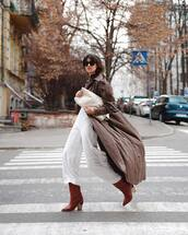 jumpsuit,white jumpsuit,white bag,long coat,brown coat,brown boots,knee high boots