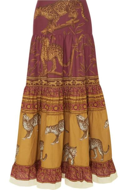 Johanna Ortiz - The Last Kashmiri Rose Tiered Printed Cotton-poplin Maxi Skirt - Burgundy