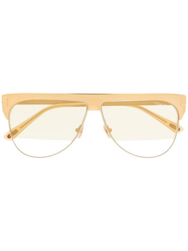 Tom Ford Eyewear tinted shield sunglasses in gold