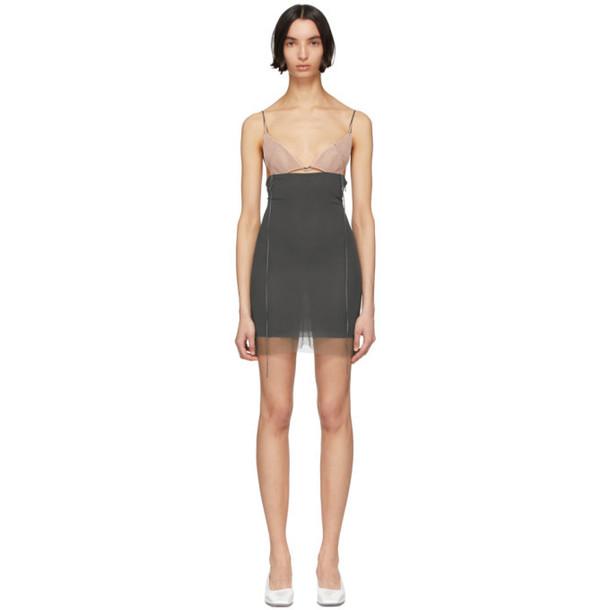Nensi Dojaka SSENSE Exclusive Pink and Grey Silk 7 Dress