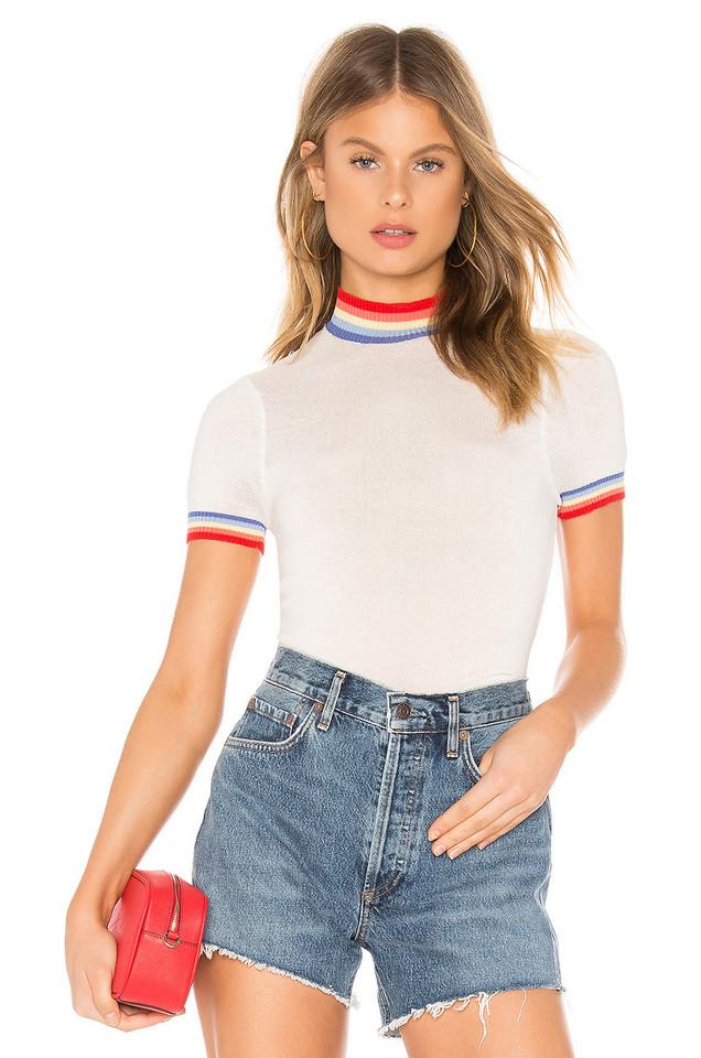 Spiritual Gangster Rainbow Stripe Crop Sweater Tee in white